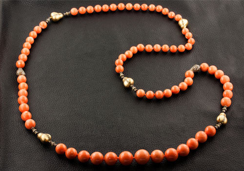 Coral Bead & Fancy Colored Diamond Necklace