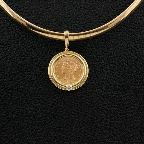 Gold Coin Pendant with Diamonds