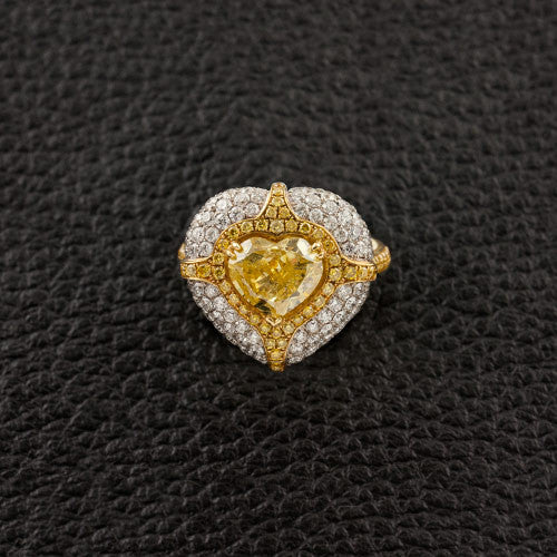 Hear shaped Yellow Diamond Ring