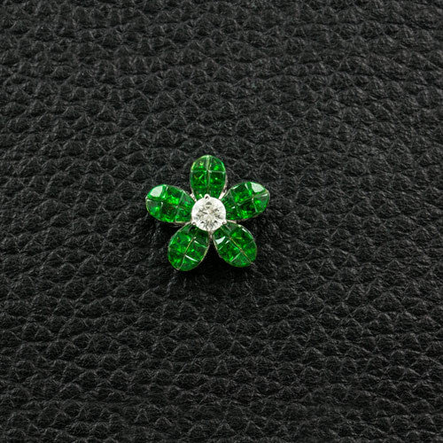 Tsavorite & Diamond Flower Pendant
