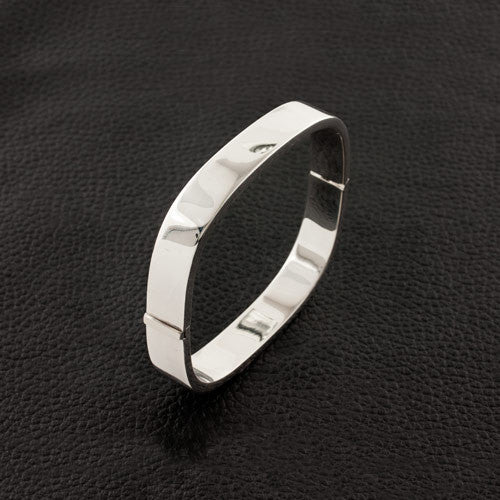 Hinged Silver Bangle Bracelet