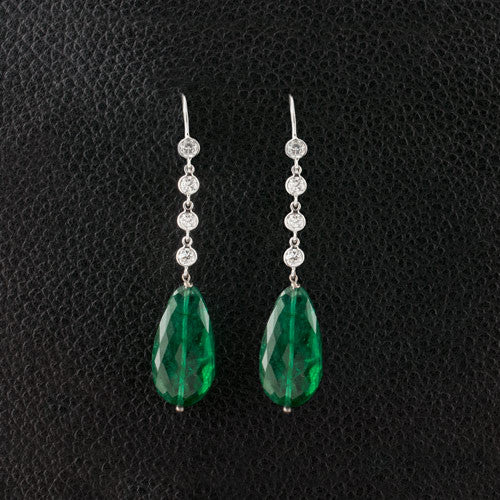 Emerald & Diamond Drop Earrings
