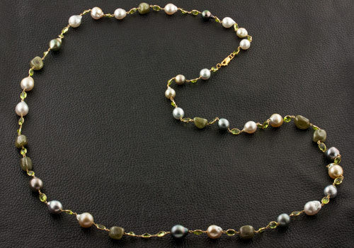 Pearl, Emerald & Peridot Necklace
