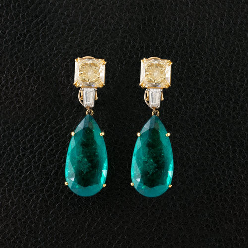 Emerald & Yellow Diamond Drop Earrings