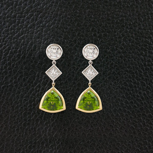 Diamond & Peridot Dangle Earrings