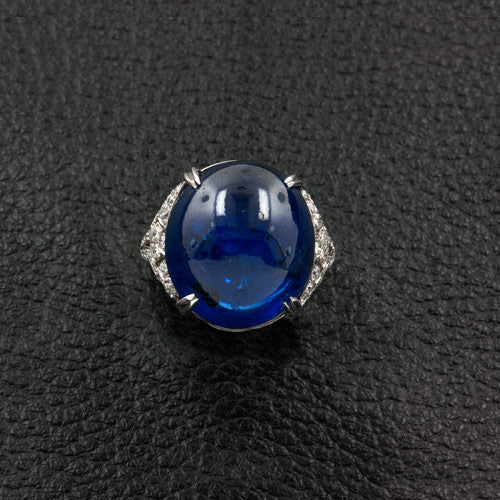 Cabochon Sapphire & Diamond Estate Ring