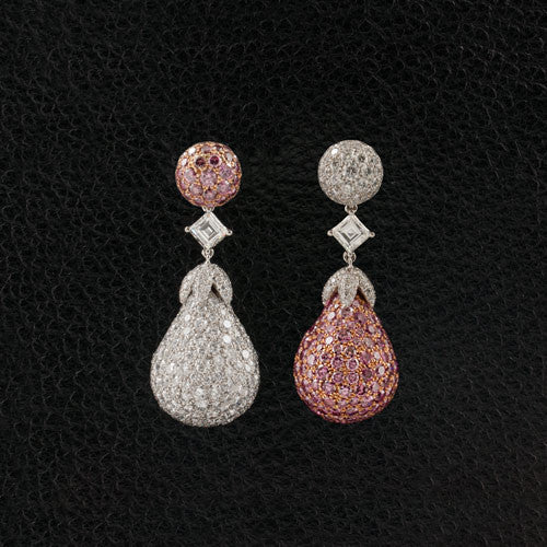 Pink & White Diamond Dangle Earrings