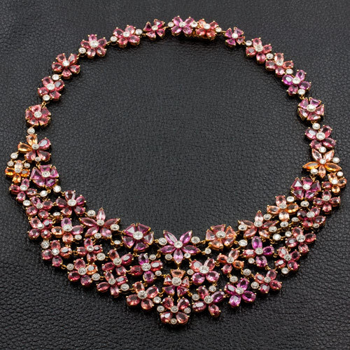Pink & Orange Sapphire & Diamond Necklace, Earring & Ring Set
