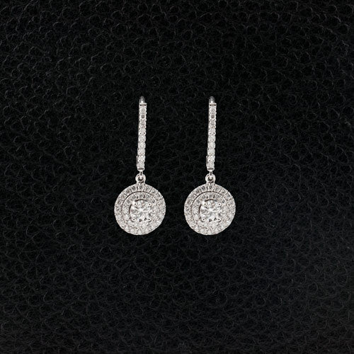 Double Halo Diamond Dangle Earrings