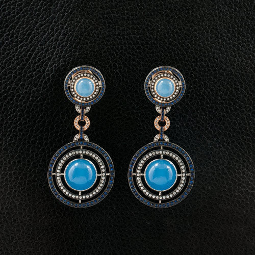 Blue Jade Dangle Earrings