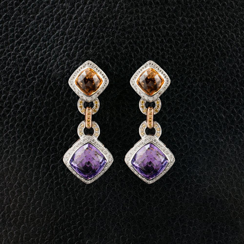 Amethyst, Citrine & Diamond Dangle Earrings