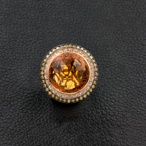 Citrine Ring with Yellow & White Diamonds
