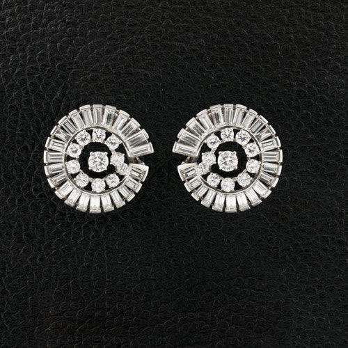 Circular Diamond Estate Earrings