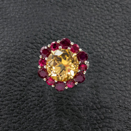 Citrine, Ruby & Red Spinel Ring