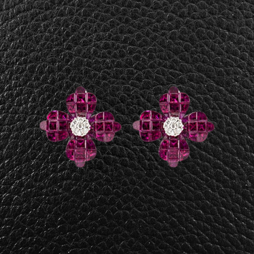 Ruby & Diamond Flower Earrings