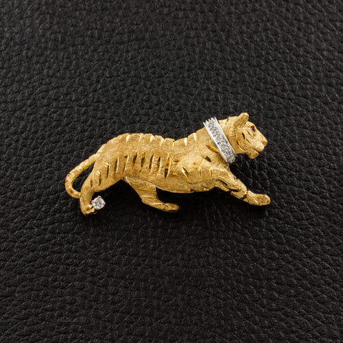 Yellow Gold Tiger Pin