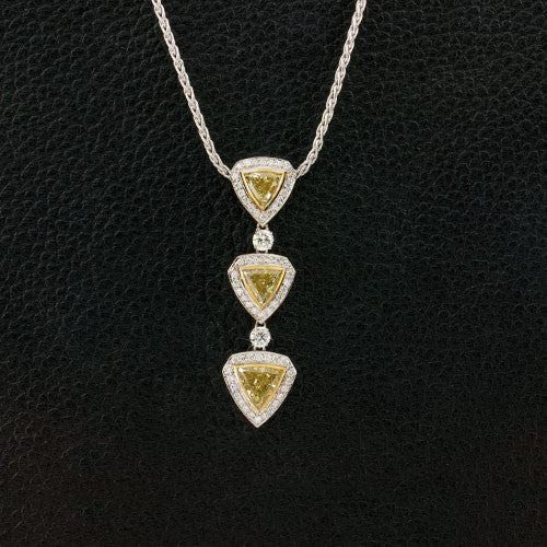 Trilliant Yellow Diamond Necklace