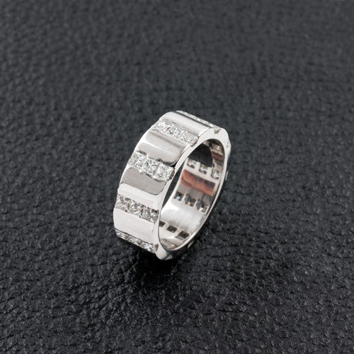 Diamond Stripes Wedding Band