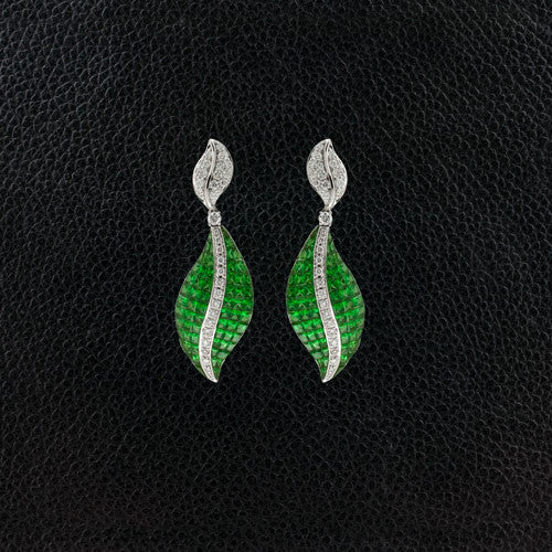 Tsavorite & Diamond Dangle Earrings