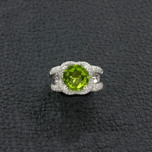 Round Peridot & Diamond Ring