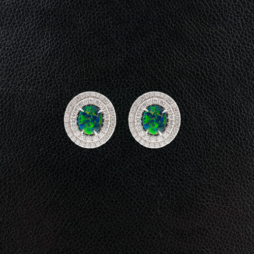 Black Opal Earrings with Double Diamond Halos