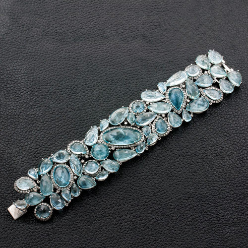 Aquamarine & Diamond Bracelet