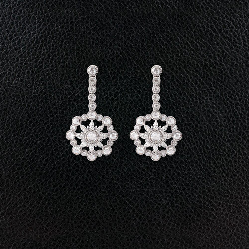 Diamond Sunburst Dangle Earrings