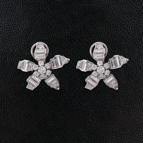 Diamond Flower Estate Earrings