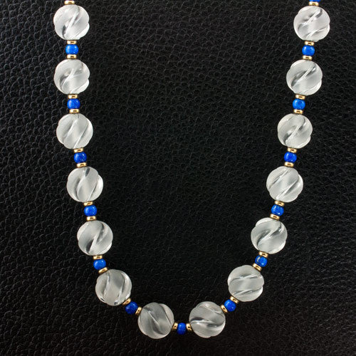 Crystal & Lapis Bead Necklace