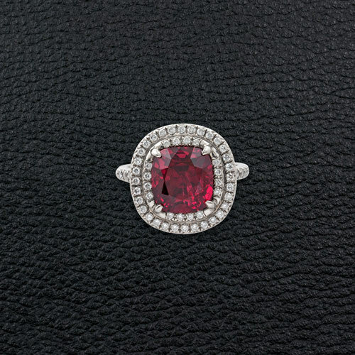 Red Spinel & Diamond Tiffany Ring