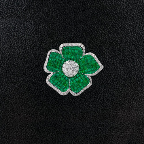 Emerald & Diamond Flower Pin