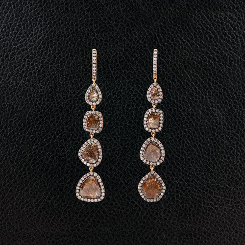 Brown Diamond Slice Dangle Earrings