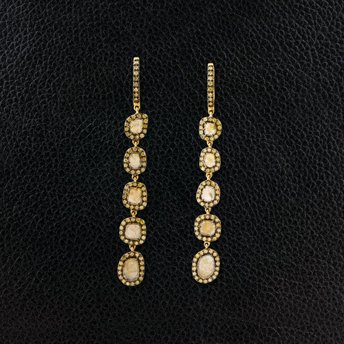 Yellow Diamond Slice Dangle Earrings