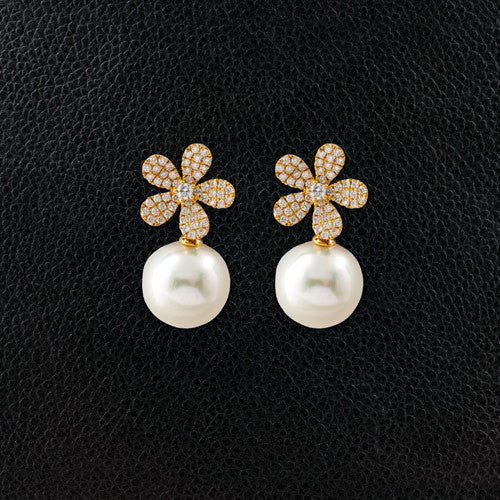 Diamond Flower Earrings with Pearl Drop