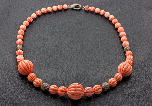 Carved Coral & Diamond Necklace