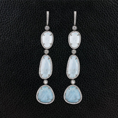 Aquamarine Slices with Diamonds Dangle Earrings