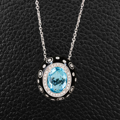 Blue Topaz, Onyx & Diamond Pendant