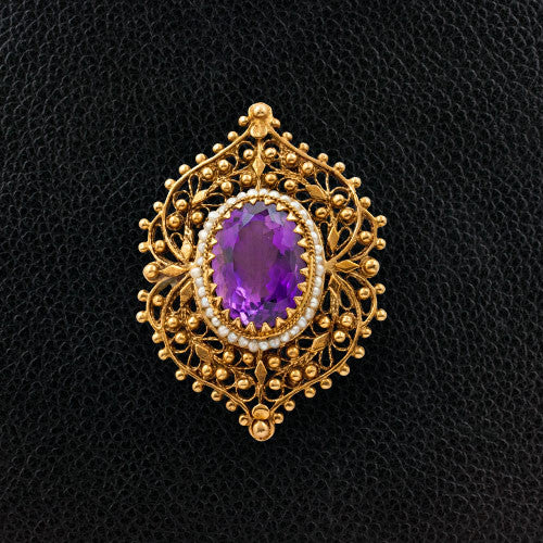 Amethyst & Pearl Estate Pin/Pendant