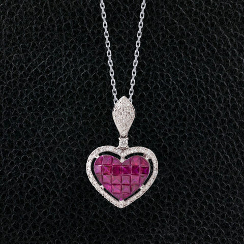 Ruby & Diamond Heart Pendant