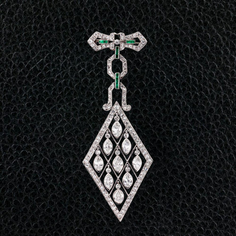 Art Deco Diamond & Emerald Estate Pin