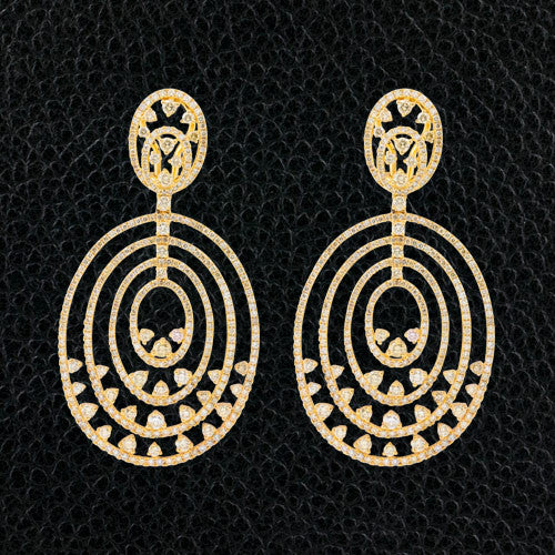 Concentric Oval Dangle Diamond Earrings