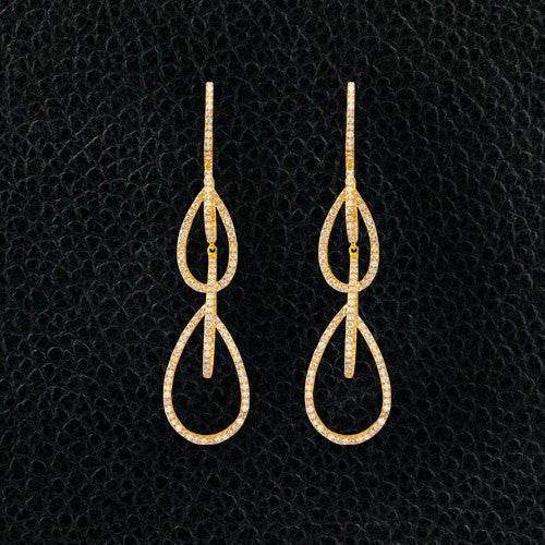Diamond Dangle Open Teardrop Design Earrings