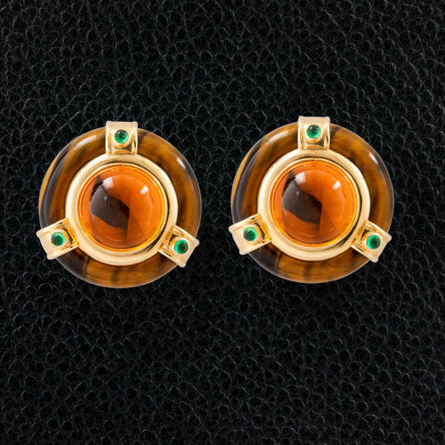 Citrine, Tiger's Eye & Emerald Estate Earrings