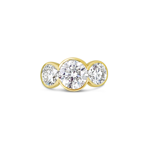 Bezel Set Three Stone Diamond Ring