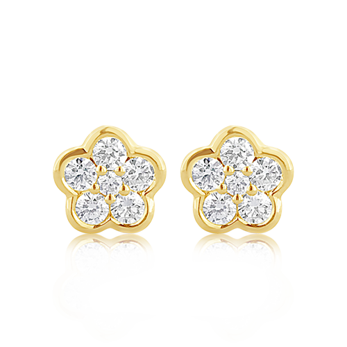Diamond Flower-shaped Earrings