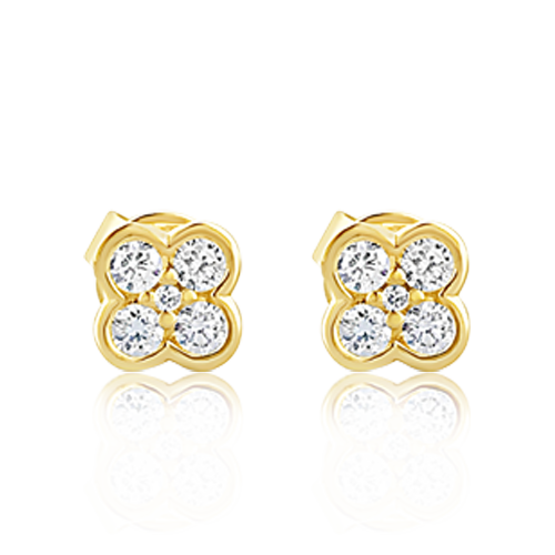 Clover Design Diamond Earrings