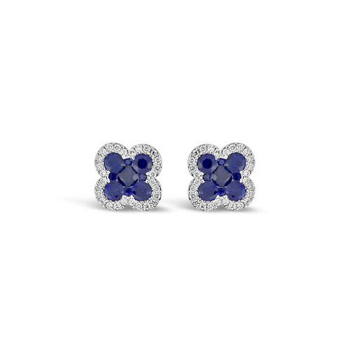 Sapphire & Diamond Clover Earrings