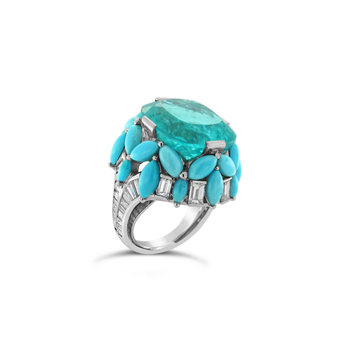 Pariaba, Turquoise & Diamond Ring