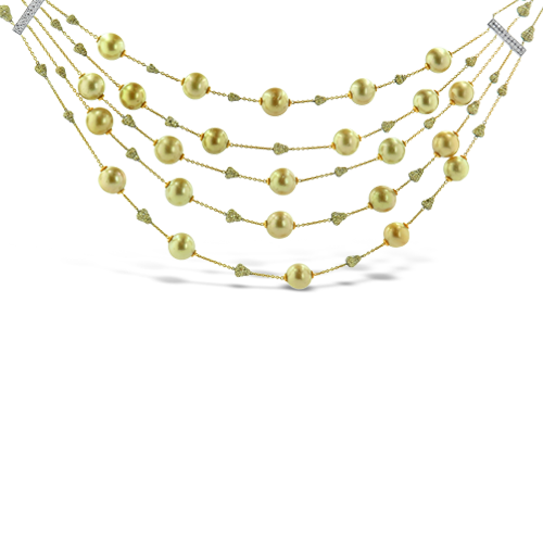 Five Strand Golden Pearl & Diamond Necklace