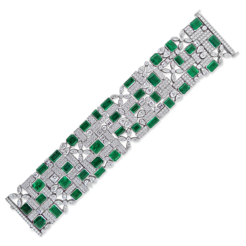 Wide Emerald & Diamond Bracelet